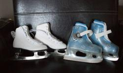 2 pairs of toddler ice skates. White pair is a size 6 and 3/4 Blue pair is SOLD. Asking $10each.
