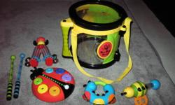 Parent 'Bee Bob Drum set' - (retails for $25.00) $10 - all the instruments fit inside the drum for easy storage. - SOLD   Backyardigans Sing 'N Strum Guitar by Fisher Price - (retails for $30) - $8   Little Tikes Jungle Jamboree Tiger Xylophone/Piano