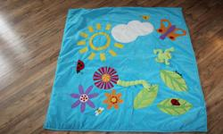 "Ikea toddler or baby play mat. Good for hard wood floors. Has various textiles on the mat to aid in your child's development as they explore, touch and feel the various objects on the mat. has small grippers on the back, machine washable. Size is 47"" x"