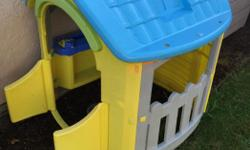 Selling a toddler sized play house (approximately for ages 1-3) in good condition. My 2 year old still loves this house but we are upgrading to a bigger structure. There is a small broken spot where the plastic got hit with a weedwhacker. It could easily