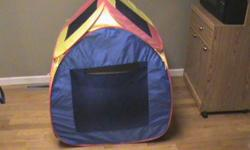 Play Tent in great condition with soft plastic balls. belcrow amd zippers with a removable roof. Tent will fold up flat for storage