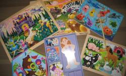 COLLECTION INCLUDES: 4 Melissa and Doug wooden puzzles(1 magnetic with fishing rod) 1 Melissa and Doug magnetic dress-up doll Very good condition Smoke free home