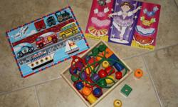 mrs potato head mix n match $5 Melissa & Doug wooden toys-2 puzzles & primary lacing beads $10 bachyardigans play guitar/blocks/bath toys/books $15 bowling pins $5   OR ALL FOR $30