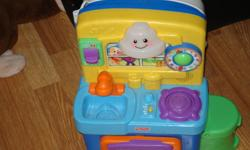 $15.00 each. or both for $25.00. kitchen comes with all accessories and the horse has ability to hook up to tv and be interactive (we never used that function as they had fun just bouncing). want to clean out the playroom of outgrown toys for santa to