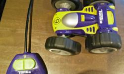 A great first remote-control for a toddler or child. Flips over and keeps going when it hits a wall or object.