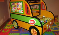 Battat activity school bus - $100 Snugli serenade vibra - Retails for $100, in EUC, asking $30. Vibrates, plays music, offers great support on your back. It even has a water bottle holder!!Heartbeat teddy bear - Like new - Retails for $30, asking $15 -