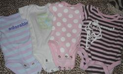 A lot of new born stuff. 2 outfits, 20 onsies, 10 sleepers, and more. Good condition.
