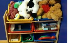 shelving with buckets - toy organizer asking $30.00