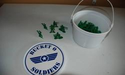 Bucket of green army men from the Toy Story.