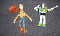 Buzz and Woody talk back and forth while you play with them or you can play with them one at a time and they still talk.   These dolls sell for 50$ each, Both for only 50$   Live in Sydney by the hospital.   All my son's stuff is in very good shape and