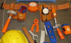 Home Depot tool belt, assorted tools, hard hat kidconnection tool set with toy drill, screwdriver and moveable parts