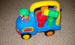 This truck is a lot of fun.  Comes with removable tools used to turn wheels etc.  Makes clicking sounds with turning. Asking:  $8.00   Please check out my other ads!