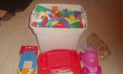 LARGE BIN AND OTHER LEGO STUFF $ 50 TRUCKS 7 IN ALL $20 TRACKS FOR CARS 1 GROCERY BAG FULL$ 15 RESCUE HEROES $20 LINCOLN LOGS AND WODDEN BLOCK $30 FOR 1 GROCERY BAG FULL LITTLE PEOPLE $30 GROCERY BAG FULL OF LITTLE TOYS $10 IF YOU TAKE ALL FOR 140 FOR