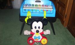 1. Mickey Mouse crib or playpen toy--child manipuates items and hears sounds or other parts move. 2. Little Tykes Xylophone--kids love it! $5 each! We have many other toys for sale as well. Please call 613-828-7398 if interested.