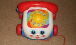 phone- $2 vtech truck missing hammer- $3 playskool hoop, no ball - $3 vtech tap & spin- $5 little tykes music thing) $3 playskool train (only has 1 ball) $1 bruin tv $5