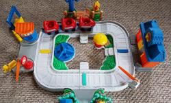 This train set makes sounds and comes with all you see. it also comes apart in two sections and all the extra pieces just slot in. A great toy for 12 months and up. Don't wait until Christmas or a Birthday get it now and and save yourself a last minute