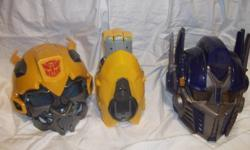 Comes with what you see here.(two transformers helmets and a blaster that goes with the bumblebee helmet.) Both helmets are fully operational.
