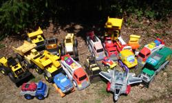 A variety of toy trucks, cars, diggers, loaders etc. (ie Tonka) all in good condition and clean. Some all metal some plastic. Prices vary from $5.00 to 15.00 each. Please leave your phone number to contact.