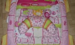 Pink tummy time mat purchased just this past June.  Comes from smoke free home.  The toys on the part that fits underneath the chest and armpits come off.  Silky feeling material so it is very gentle against babies skin and face.  Asking $10.  Phone
