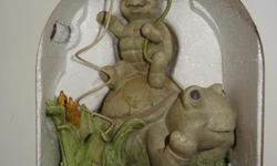 Cute frog and tortoise polyresin figures, never used, still in box
