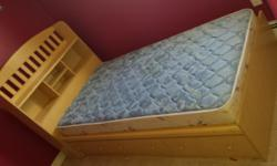 Twin bed drawers under bed and books case for head board. No mattress