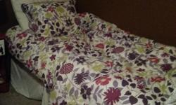 This is a smoke free and pet free home. The bed was used once or twice. we bought it to stage a house and it has been sitting in the condo loft since. used twice bt adults. zero damage. this twin bed includes: bed skirt, thick bed frame on wheels, twin