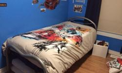 Mattress is 11'' think with Memory foam pad! I have two mattress covers to protect that I will include with the bed. Bed frame is silver with a board and height is adjustable. Paid for the Mattress only over $700 Bed cover extra ! Like new and very clean