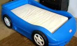 Twin size in good condition toddler Little Tikes blue car bed 120 OBO no metres .