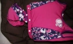 A blue boys floaty suit with attachable bottoms and a girls pink and purple floaty suit with attachable bottoms. Blue (small) worn between 6 and 12 months Pinkand purple (medium) worn between 12-24 months