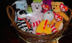 This basket is perfect for a Ty Beanie Baby lover. It has 7 mini Ty beanie babies from the McDonald's collection. This basket also comes with a handmade tag. You can purchase a card for this gift basket for an extra $2.00. Please email for details.
