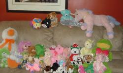 A whole bunch of stuffed animals for the play room. From smoke free house. Some are TY and some are not. All Sizes. Approximately 40. Excellent Condition!