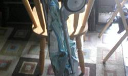 blue, green and white stripped umbrella stroller in great condition