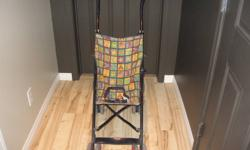 Umbrella stroller in good shape, seat buckle, wheels lock, foot rest and folds up nice.  This was a great little stroller easy to push! Smoke/pet free Check out my other ads