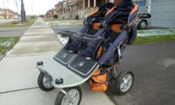 -Excellent condition, very clean, the easiest stroller to manoeuvre. -Fits through any doorway. Many add-ons included: 2 OVER SEAT TABLES, Cup holder mounted to handlebar, UV protective screen, Rain cover, 2 infant support cushions Over seat cushioned