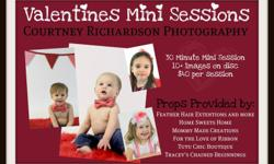 Courtney Richardson Photography is offering Valentines Mini Sessions for your little ones. 10+ photos on a disc, with up to 30 Minutes. $40.00 (including $20 deposit at time of booking)   Please see photo for more details.   Find us on Facebook!