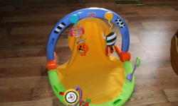 Fisher Price activity center 15.00, Playskool activity house 20.00, baby tube 20.00, nursing pillow 10.00, Cosy crib tent 25.00, sling baby carrier 10.00, Learning curve tummy time 25.00, Infant bath 15.00