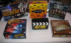 Movie Scene It 2nd Edition, Vampire Hunter, Thinkblot, Act One, CSI, Family Feud Asking $10 for each game.