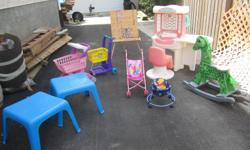Beauty Salon 2 grocery carts child's painting easel wooden rocking horse 2 plastic tables baby doll stroller baby doll chair * $55.00 for everything or best offer (s) on individual items in Pilot Butte