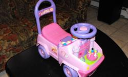 Princess ride on toy $20.00 Musical Elephant $5.00 Singing Pot $8.00 Violet the Bear $8.00