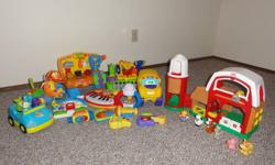 A little of everything Fisher Price, Baby Einstein and others all in great shape, clean and they all work and have all the parts with them.