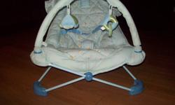 blue viberating chair with low and high speeds works great, new batteries, folds up easy. has removable toy loop 1 toy missing but you can add your own. easy to take apart for washing. great shape