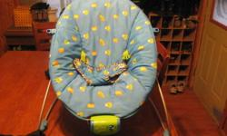 Blue vibrating chair with little frogs and ducks on it.  $10.00  Grandchild has out grew it in great condition not used very much.