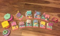 Excellent condition- set of 16 polly pockets with people, pets, cars etc. Collection includes houses, cafes, vet, school, church, etc. A few are light up but would require new batteries. Purchased in the 1990s however, collection looks like it was