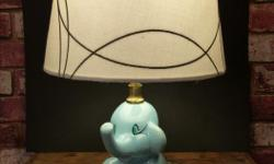 VINTAGE ELEPHANT CHILD'S NURSERY OR BEDROOM LAMP Hand painted, wee little Elephant lamp from the 1960's. Perfect for a small child's bedroom, or for a Nursery. Works great!