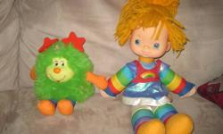 Vintage Rainbow Brite Doll and Green Sprite. Both are in used condition with some play wear (there are some marks on their faces - note the pink smudge on Rainbow's forehead - it can be hidden by her bangs).  They both could use a good cleaning as well,