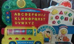 Excellent condition. Multi-educational talking electronic toy. Teaches letters, numbers, seasons, time, shapes, animal sounds, spells words. Asks questions to answer. Plays a number of children song melodies, and you can alter the tones by getting the