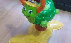 Vtech bouncing turtle selling because we moved and dont have the space for all my daughters toys! Asking $20 obo Description from the website: Innovative and educational Great fun for children, toddlers, and infants Designed to be safe and durable Child