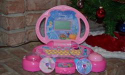 Perfect Santa gift. Our Santa doesn't wrap gifts and sometimes they are not in perfect working order as it's a rough ride from the Northpole.   This carriage-shaped laptop allows your child to learn important preschool skills with Cinderella herself!
