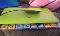 v tech nitro jr notebook for kids comes with 8 game discs plus wats on the computer itsself. games include language arts,math explorer, music studio,social studies, art album, game time, nature and science, and world discovery there are about 14 diff
