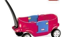 "Little Tikes Deluxe 2 Door Wagon for Sale. Two working doors, two cup holders, deep leg wells and molded-in drain holes. The long handle folds underneath for easy transport or storage. Measures 41.25""L x 21""W x 19.25""H. Made in USA with recyclable"